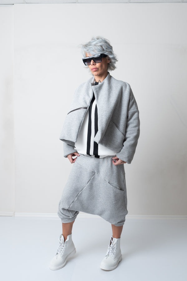 Grey Quilted Warm Winter Oversized Short Jacket with a zipper pocket - Clothes By Locker Room