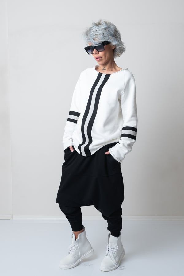White Loose Sweater with Extra Long Sleeves - Clothes By Locker Room