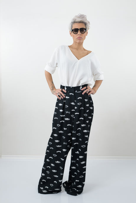 Printed Harem Palazzo Pants with High Waist - Clothes By Locker Room