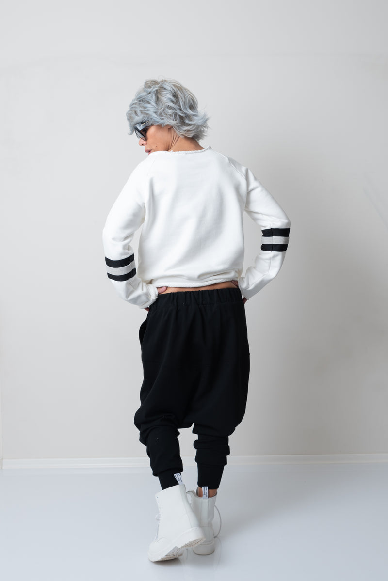 Black Harem Loose Drop Crotch Pants - Clothes By Locker Room