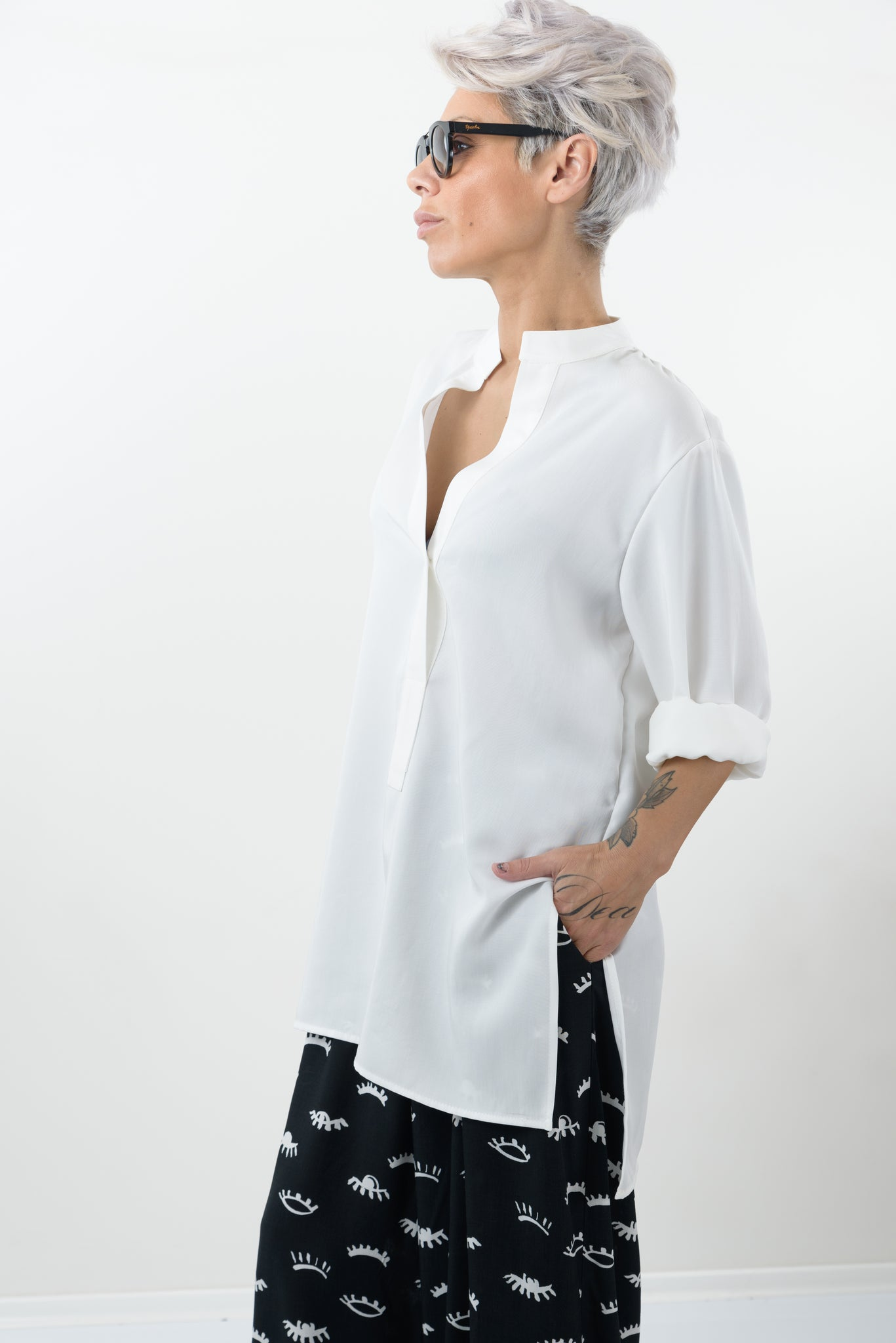 White Summer Plus Size Women Tunic Shirt - Clothes By Locker Room