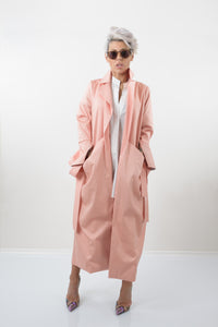 Soft Pink Maxi Trench Coat with Extra Long Sleeves and Side Pockets - Clothes By Locker Room