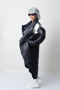 Winter Quilted Extra Warm Black Puffer Coat With Detachable Long Sleeves - Clothes By Locker Room