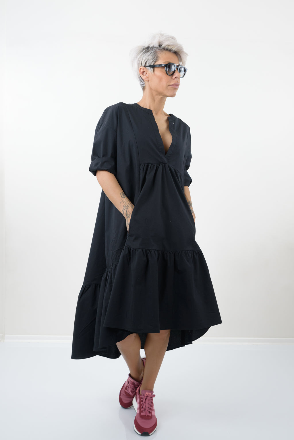 Black Oversize Midi Tunic Dress
