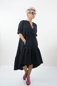 Little Black Oversize Midi Wedding Guest Cocktail Tunic Dress
