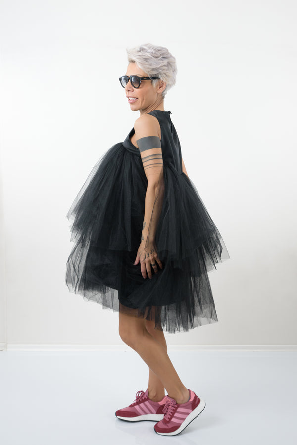 Black Extravagant Dress with Double layer Tulle - Clothes By Locker Room