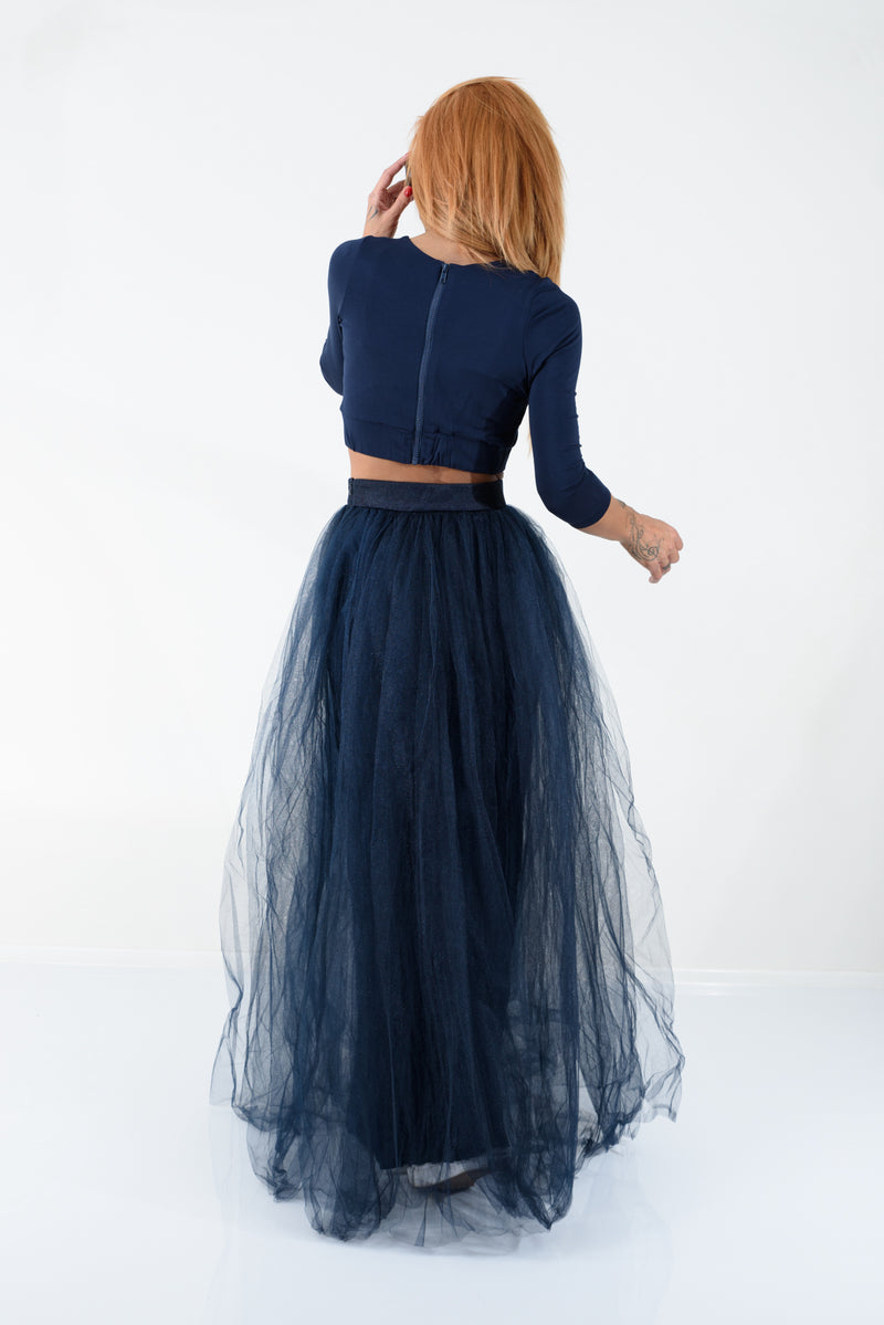Navy Maxi Tulle Skirt with High Waist - Clothes By Locker Room