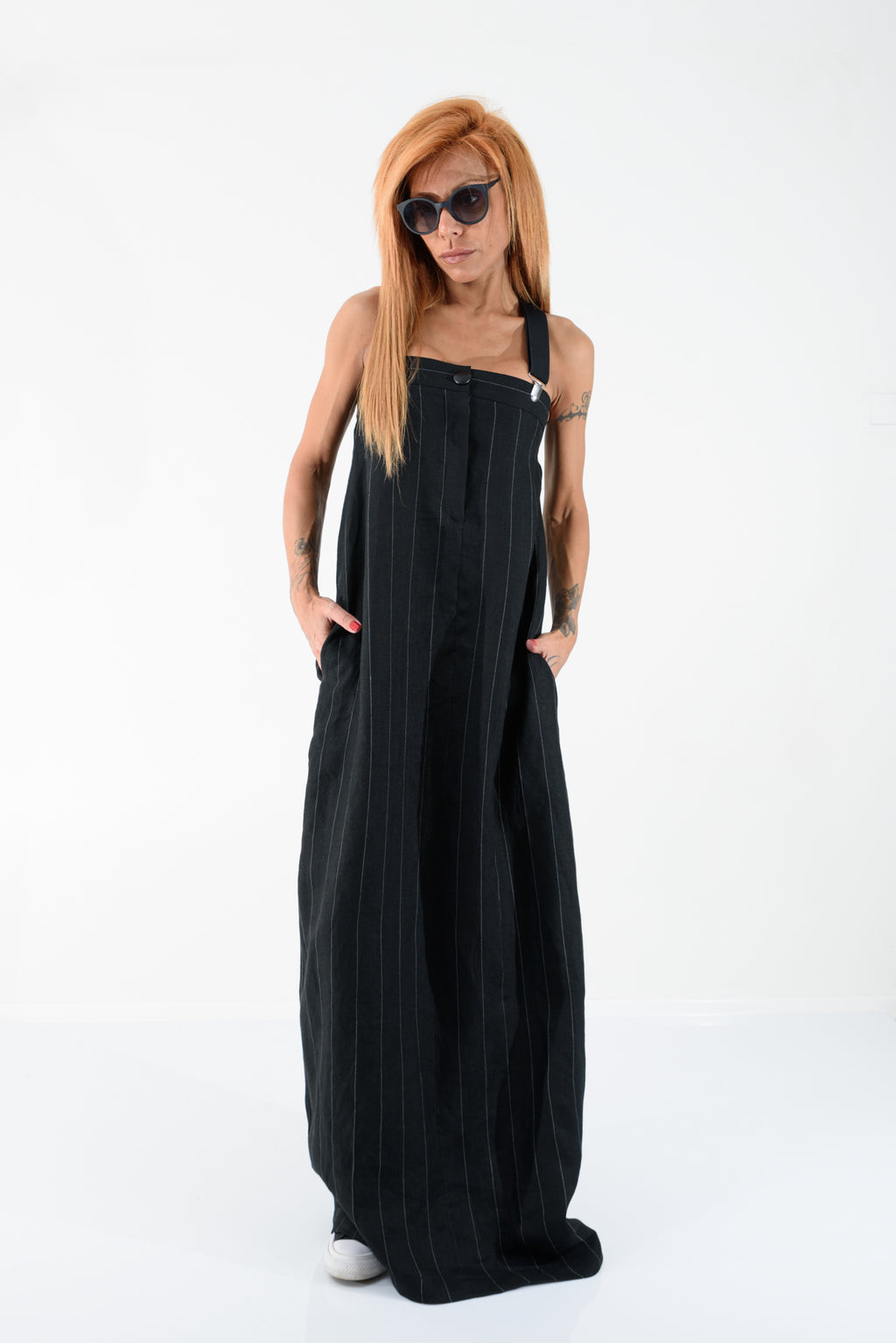 Black Linen Kaftan Dress
