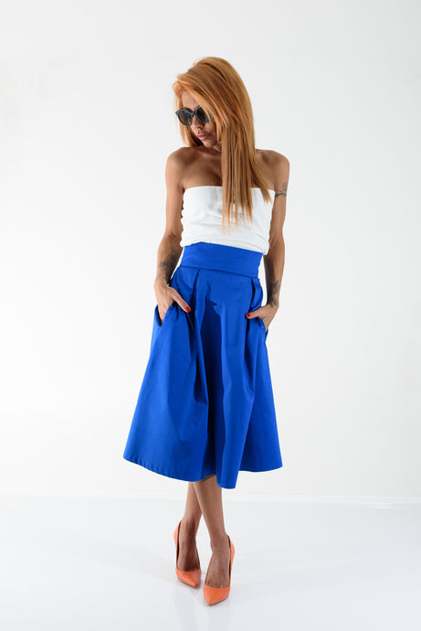 High Waist A-Line Midi Skirt - Clothes By Locker Room