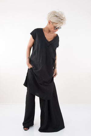 Black Harem Linen Mid Waist Pants - Clothes By Locker Room