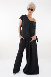 Black Women Harem Linen Summer with Mid Waist Pants