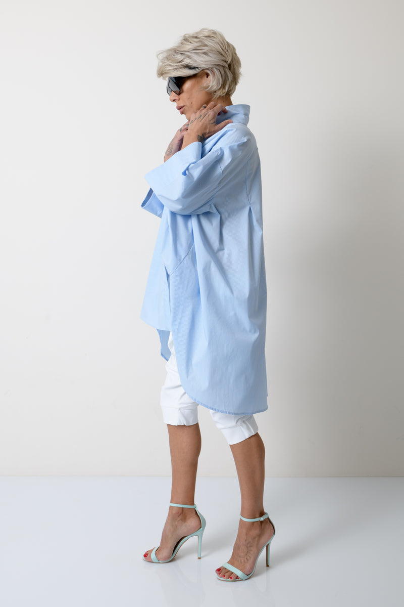 Blue - White Asymmetric Loose Shirt - Clothes By Locker Room