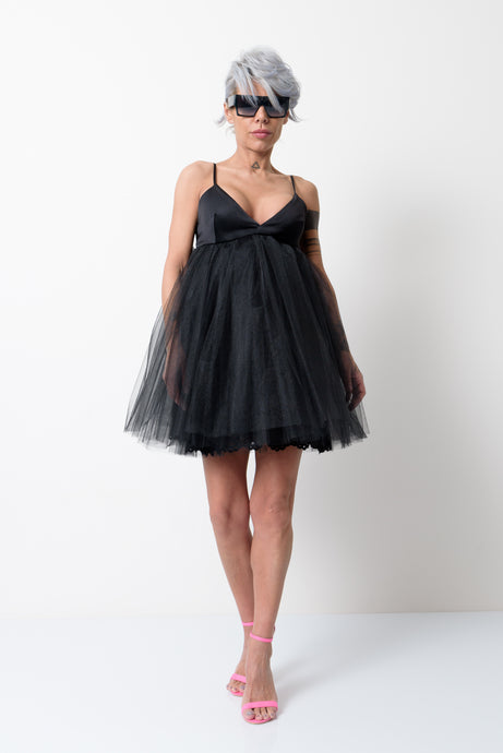 Little Black Dress with Black Tulle