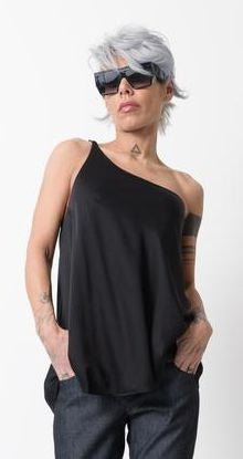 Black One Shoulder Strap Asymmetric Tank Top - Clothes By Locker Room