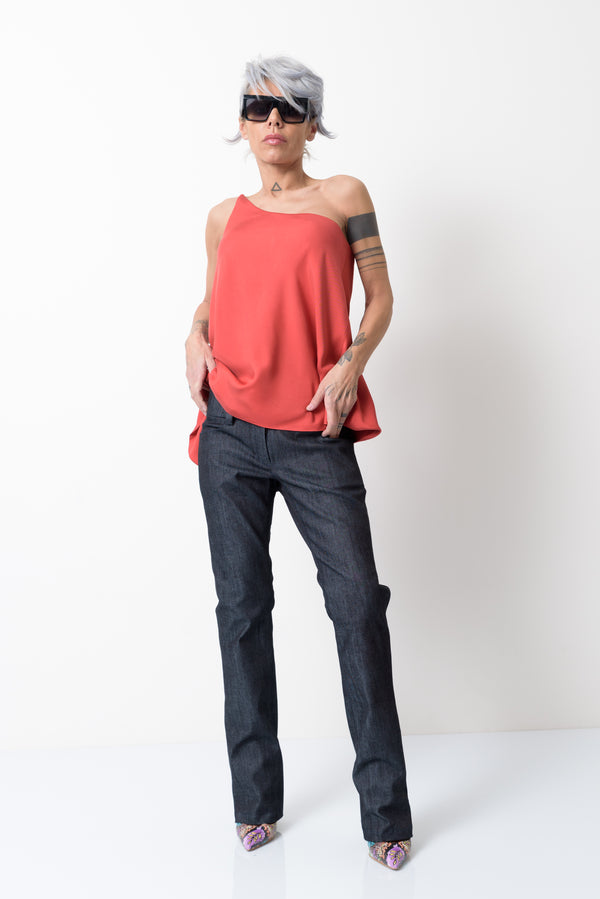 Orange One Shoulder Strap Asymmetric Tank Top - Clothes By Locker Room