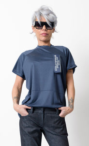 Dark Blue T Shirt Blouse with Front and Back Wide Band