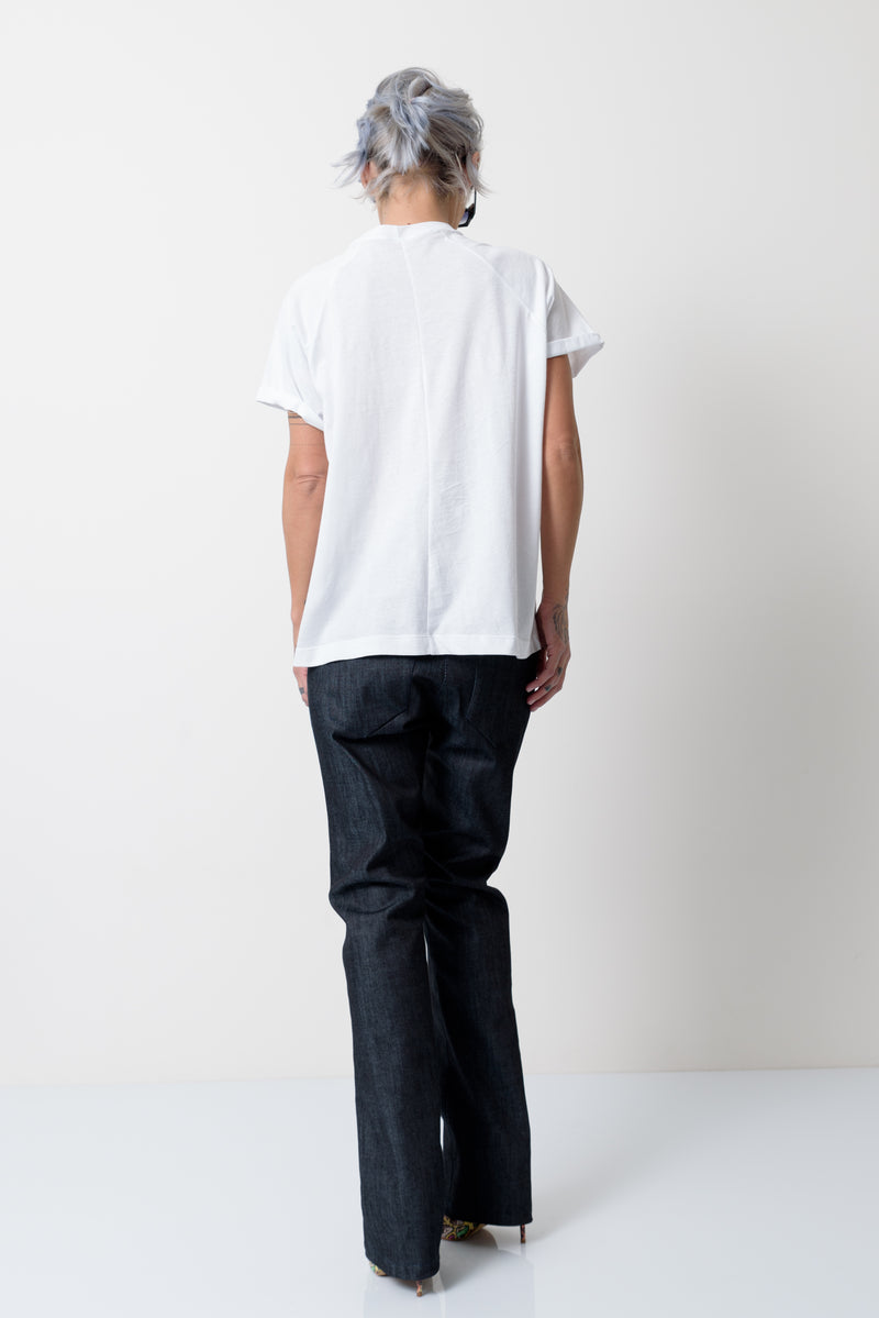 White T Shirt Blouse with Front Leatherette Pocket - Clothes By Locker Room