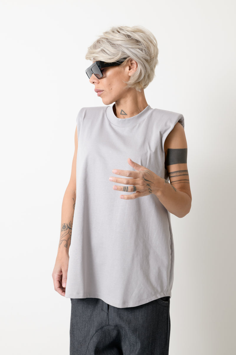 Grey Casual Sleeveless T Shirt - Clothes By Locker Room