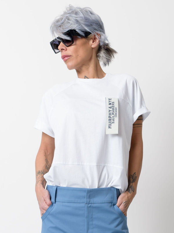 White T Shirt Blouse with Front and Back Wide Band - Clothes By Locker Room