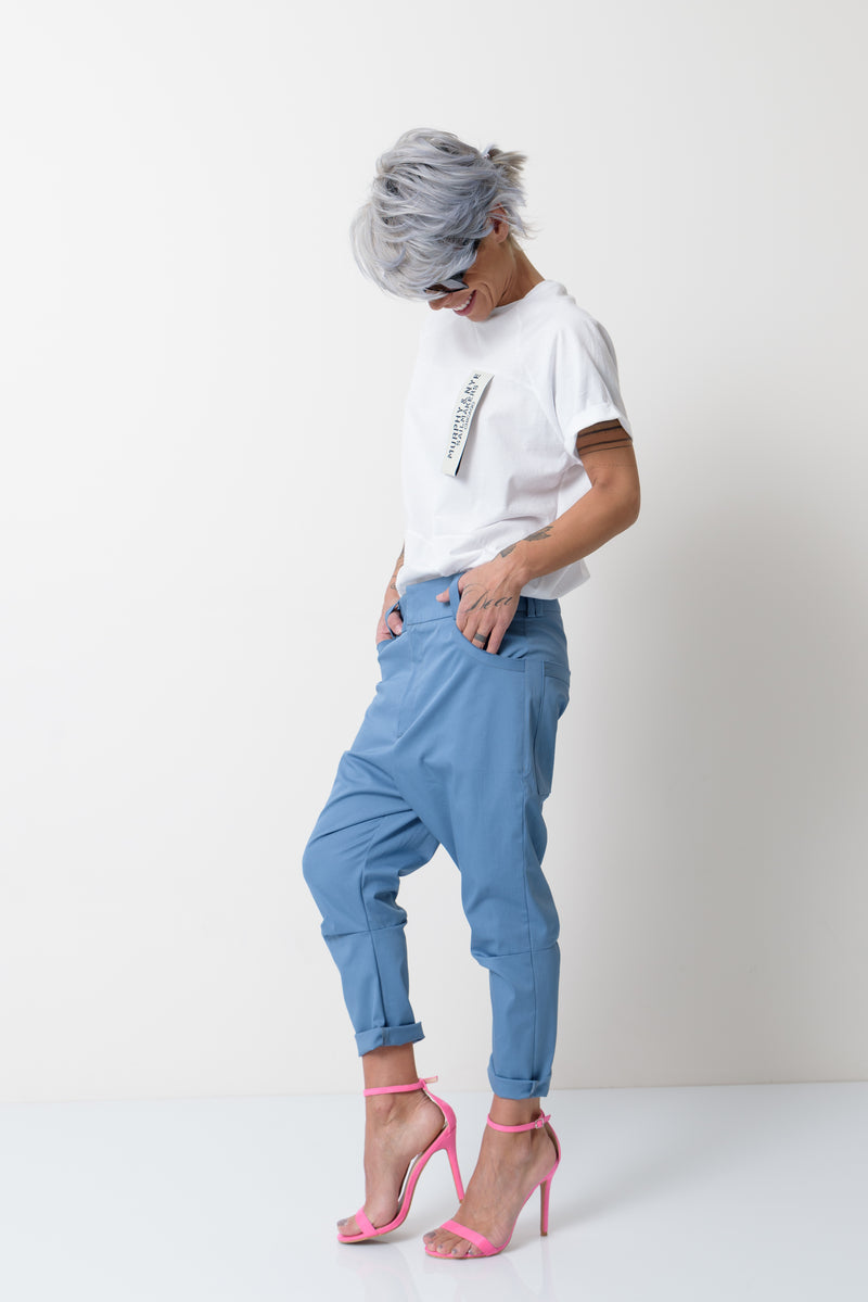 Women Blue Harem Drop Crotch Pants - Clothes By Locker Room