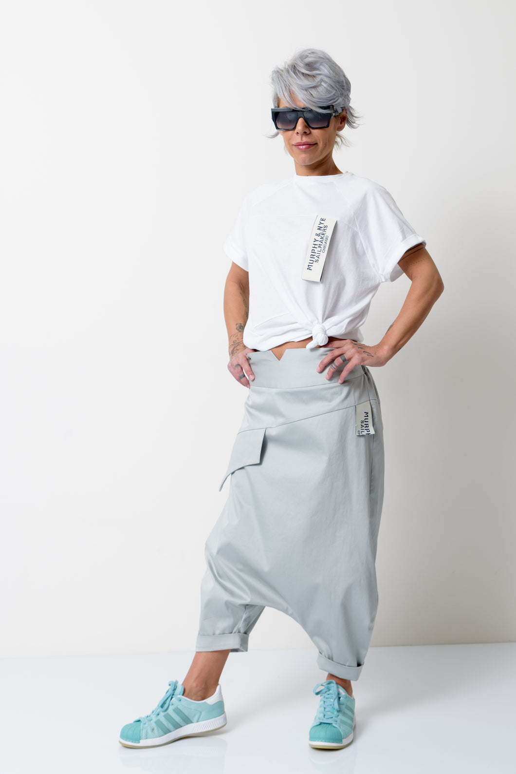 Grey Loose Wide Leg Harem Pants