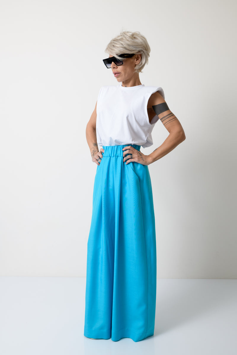 Women Blue Harem Linen Pants - Clothes By Locker Room