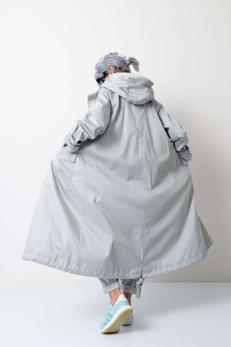 Oversized Long Light Grey Hooded Jacket - Clothes By Locker Room