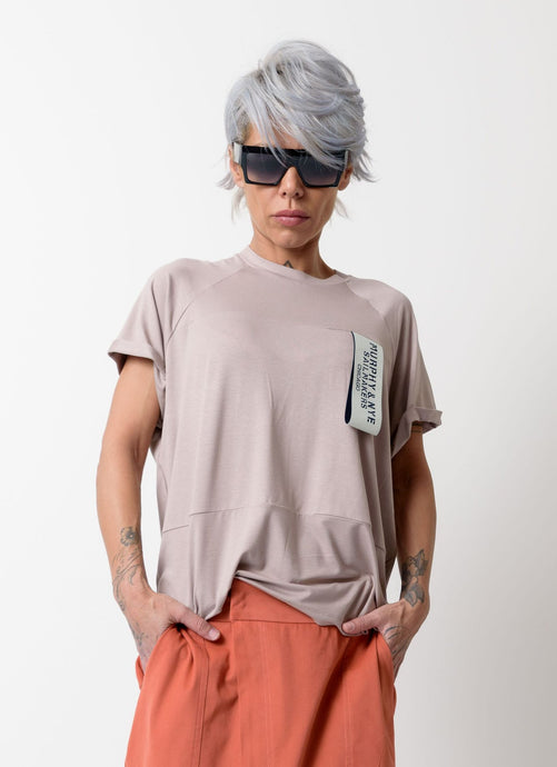 Beige T Shirt Blouse with Front and Back Wide Band