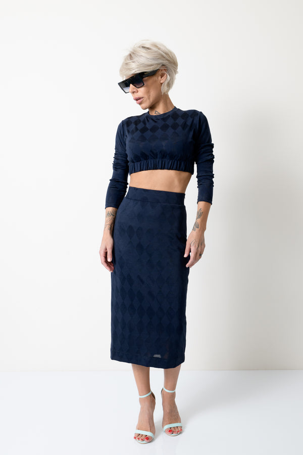 Navy Blue Clothing Set Crop Top and Skirt - Clothes By Locker Room
