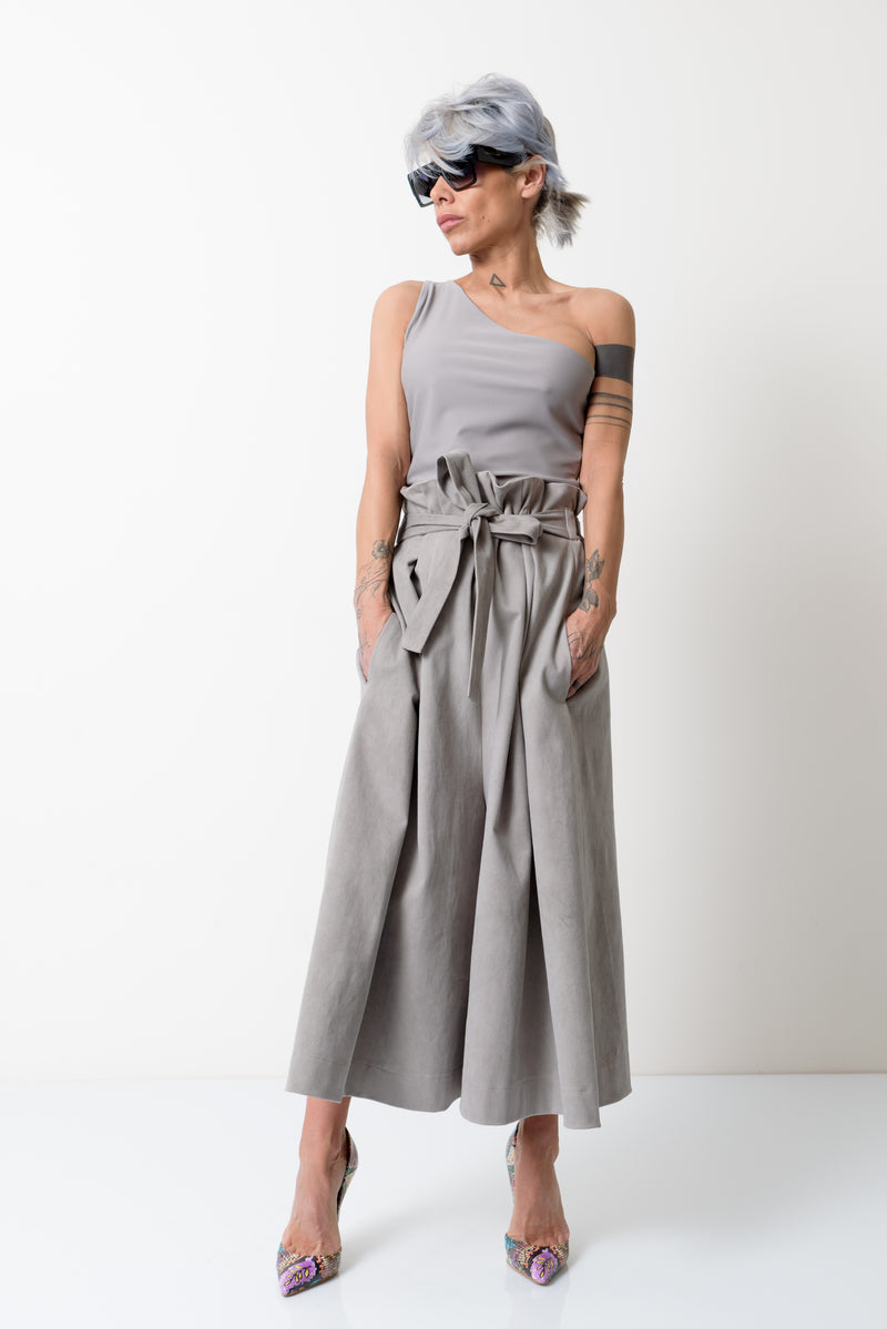 High Waist Beige Paperbag Mid-calf length Skirt Pants - Clothes By Locker Room
