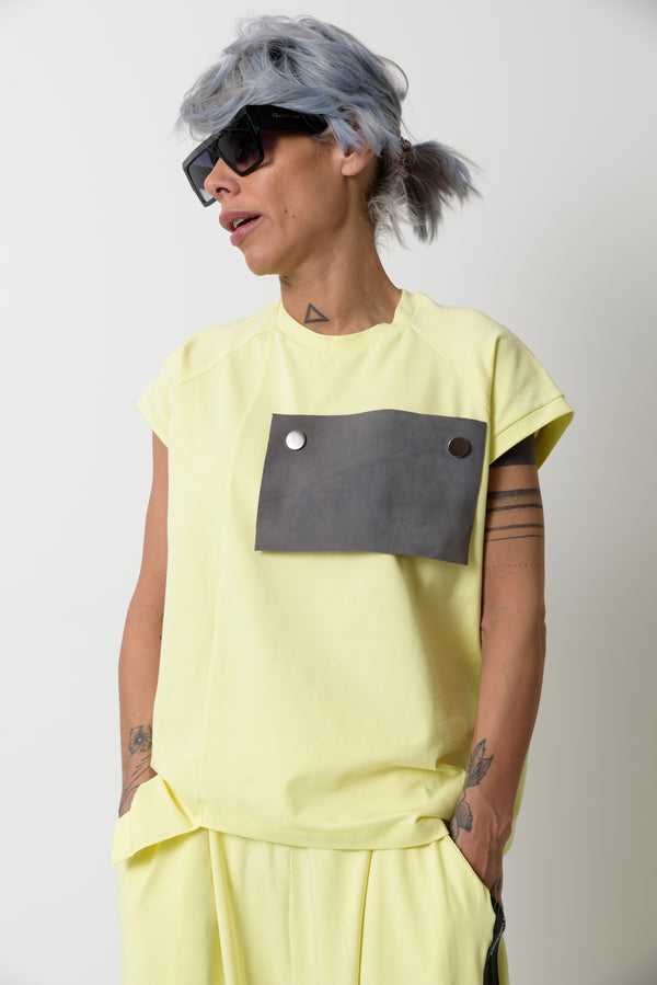 Yellow T Shirt Blouse with Front Leatherette Decoration - Clothes By Locker Room