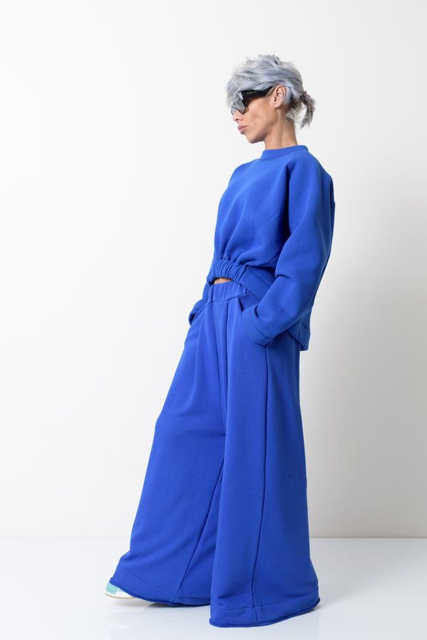 Blue Warm Asymmetric Long Sleeves Quilted Sweater - Clothes By Locker Room