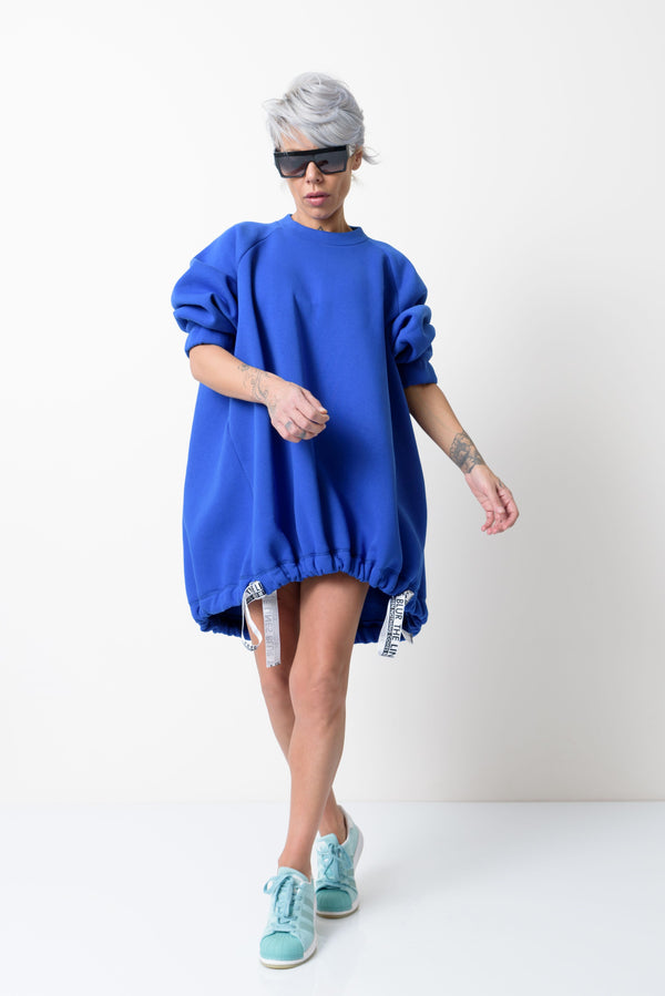 Blue Loose Oversized Asymmetric Long Sweater - Clothes By Locker Room
