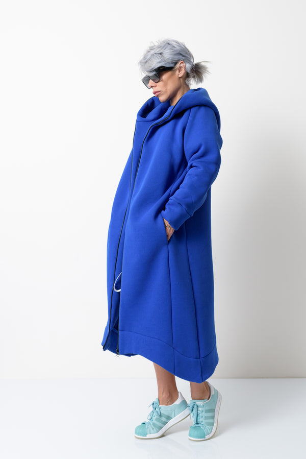 Blue Warm Oversized Quilted Hoodie Sweatshirt with Long Sleeves and Front Zipper - Clothes By Locker Room