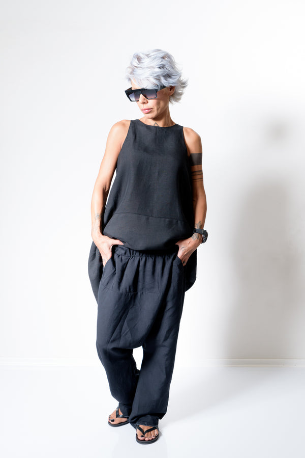 Linen Wide Leg Harem Drop Crotch Pants - Clothes By Locker Room