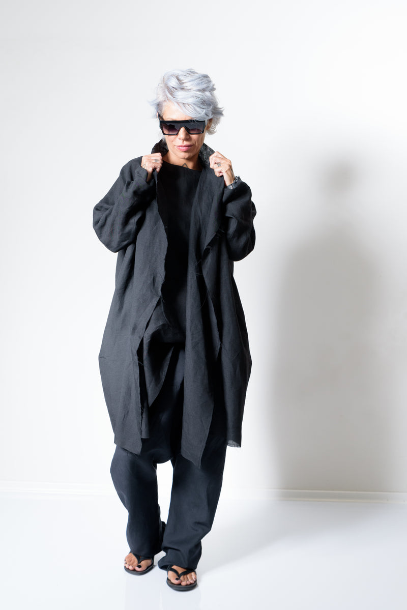 Black Linen Oversized Casual Cardigan with Long Sleeves - Clothes By Locker Room