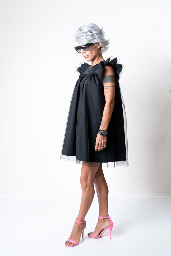 Black Mini Evening Dress with Puff Tulle Sleeves - Clothes By Locker Room