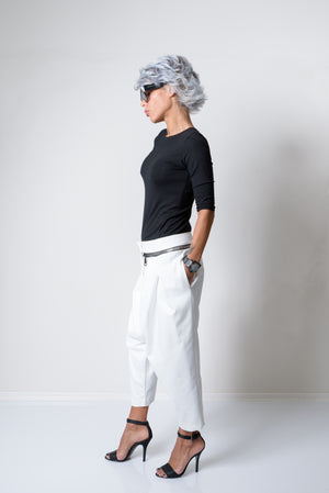 Extravagant White Low Crotch Side Pockets Pants - Clothes By Locker Room