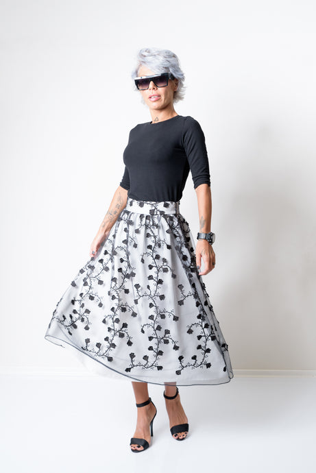 A-Line High Waist Midi Skirt Made of two Layers - Flower Lace and Cotton - Clothes By Locker Room