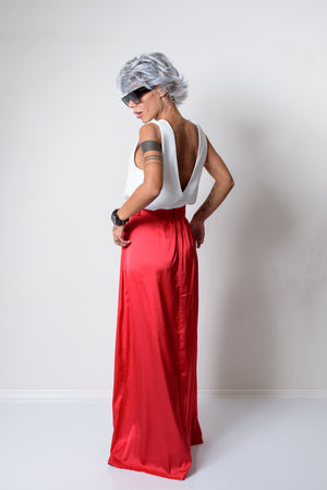 Red Maxi Skirt With Pockets - Clothes By Locker Room