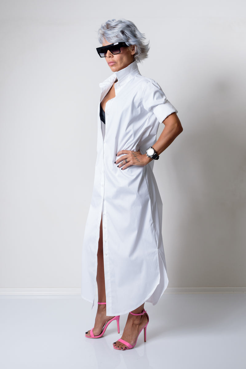 Asymmetric White Maxi Oversize Loose Shirt - Clothes By Locker Room