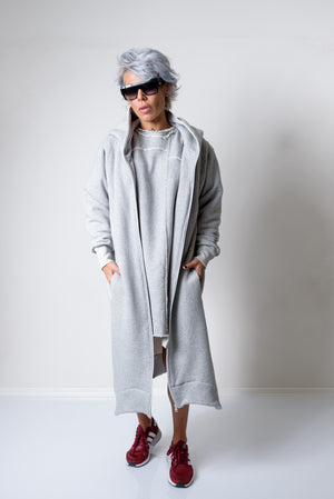 Grey Maxi Oversized Asymmetric Plus Size Hoodie