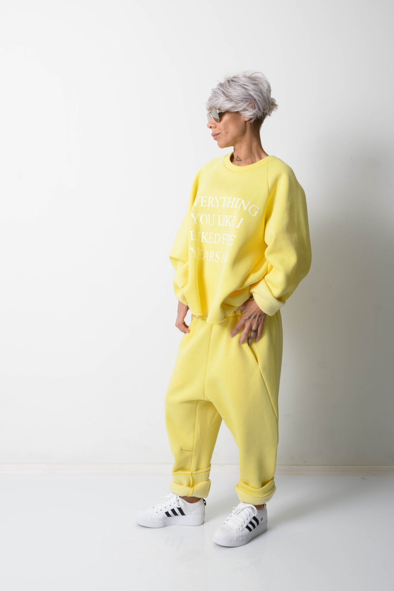 Yellow Two Piece Tracksuit For Women