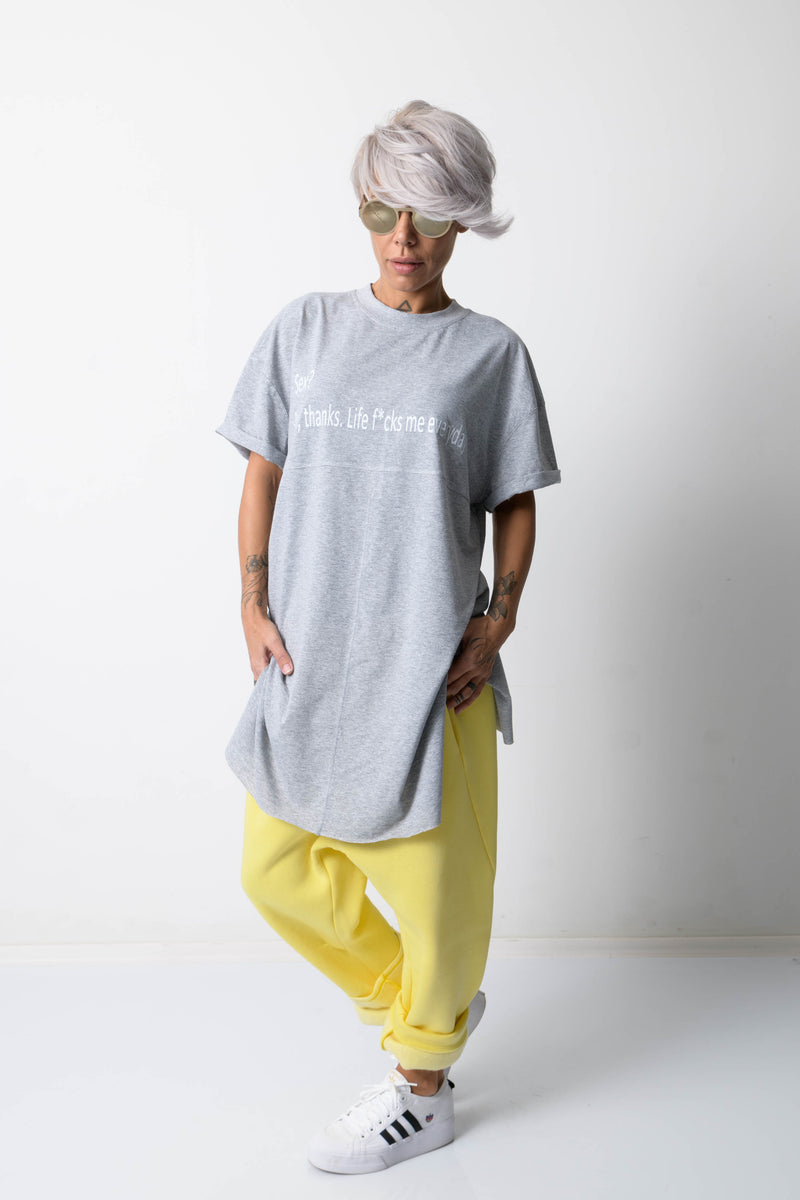 Grey T Shirt Blouse with Front Print