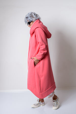 Pink Warm Quilted Oversized Casual Hoodie Sweatshirt - Clothes By Locker Room
