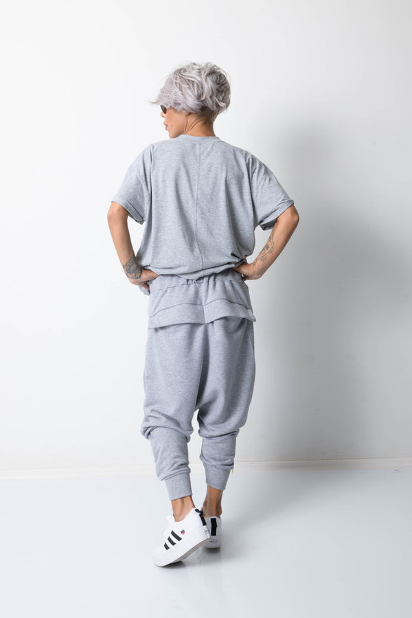 Grey Harem Loose Drop Crotch Pants