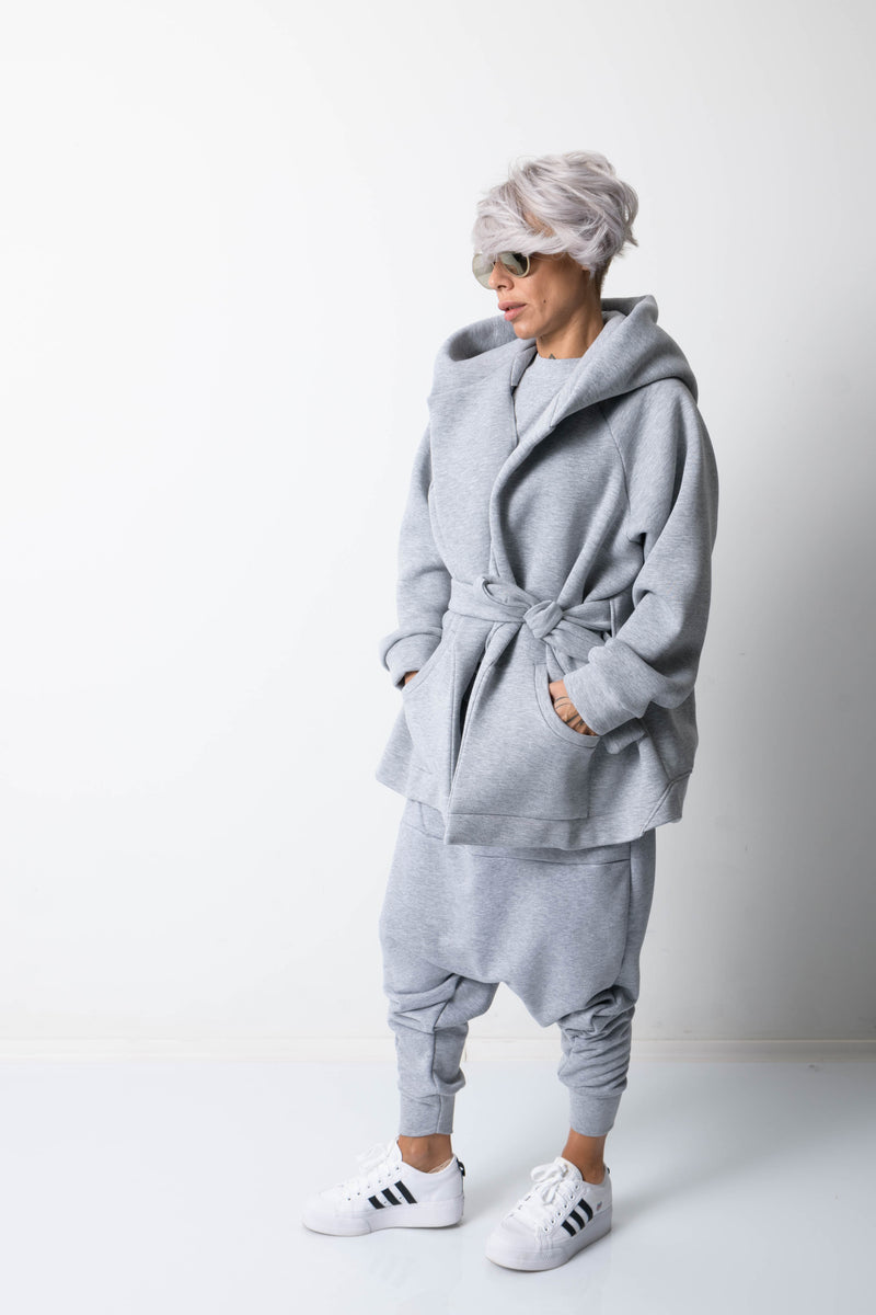 Grey Warm Oversized Quilted Hoodie with Long Sleeves