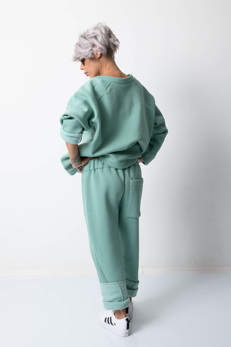 Green Two Piece Tracksuit For Women