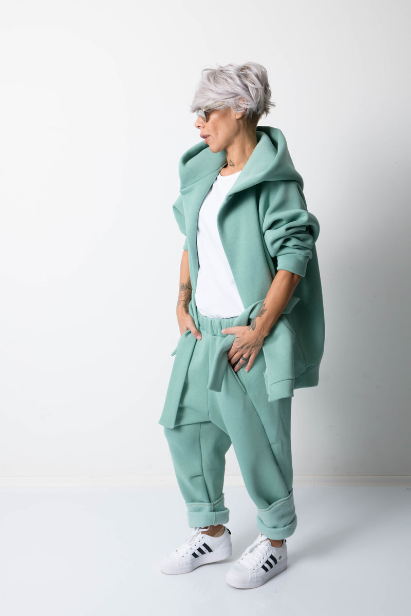 Green Warm Oversized Quilted Hoodie with Long Sleeves