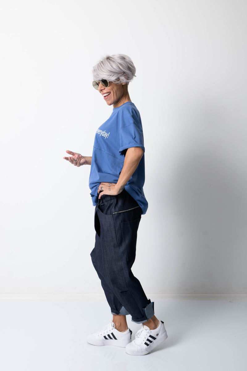 Denim Wide Leg Drop Crotch Pants with Side Pockets